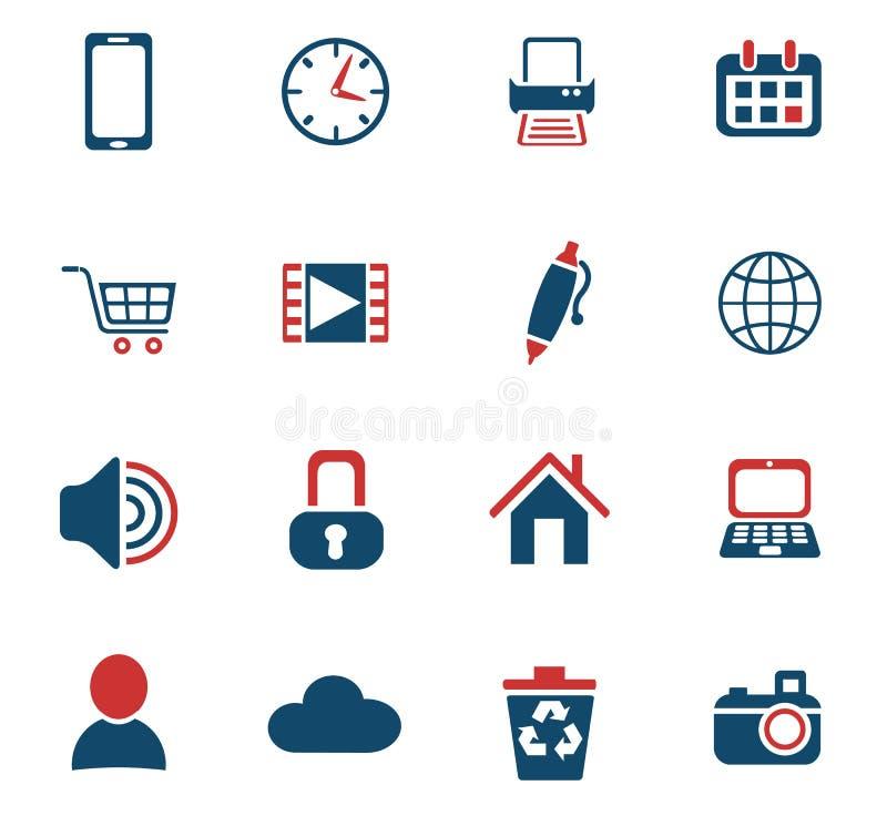 Grupo do ícone do blogue ilustração stock