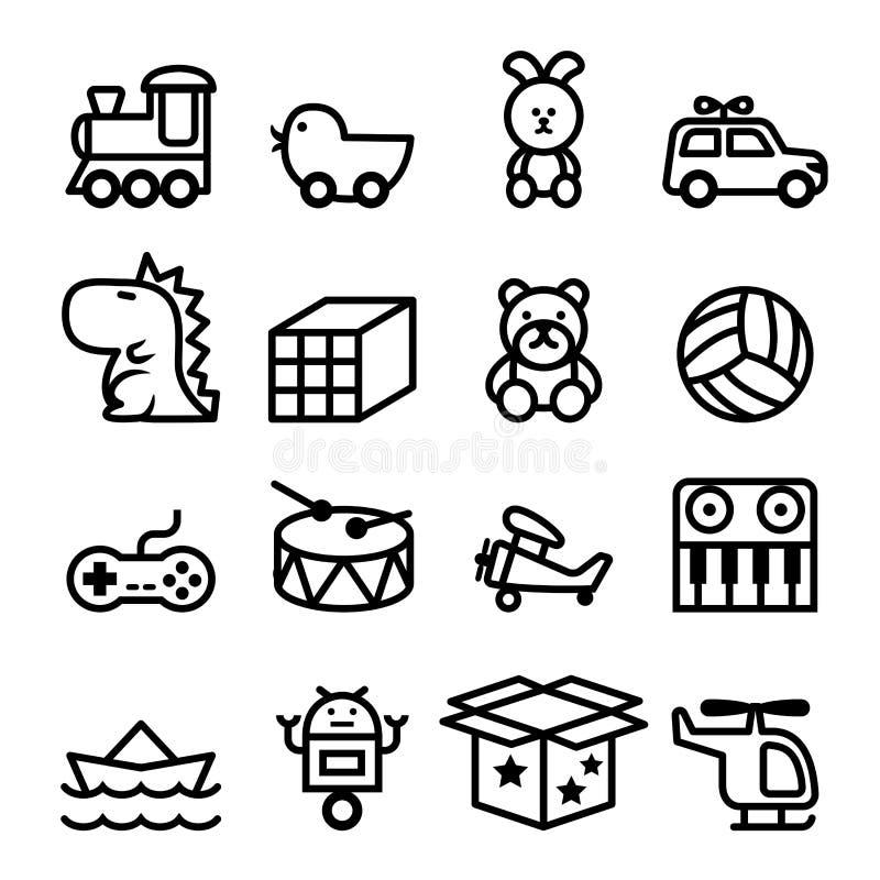 Grupo do ícone do brinquedo do esboço ilustração stock