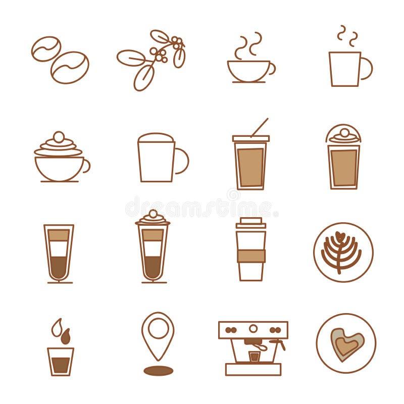 Grupo do ícone do café, cafetaria do feijão de café fotos de stock