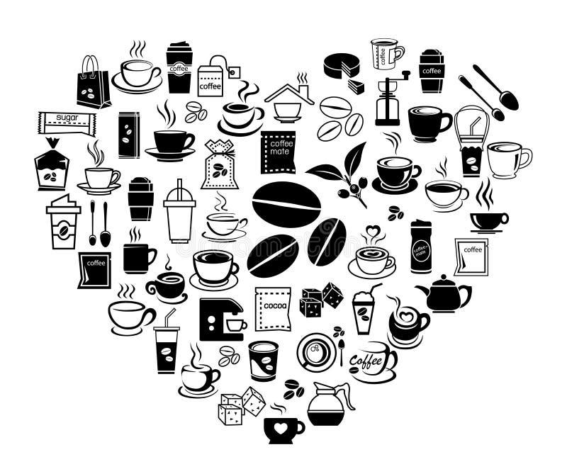Grupo do ícone do café do coração ilustração do vetor