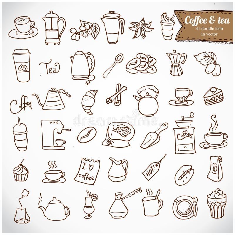 Grupo do ícone do café e do chá c de Dooodle. ilustração royalty free