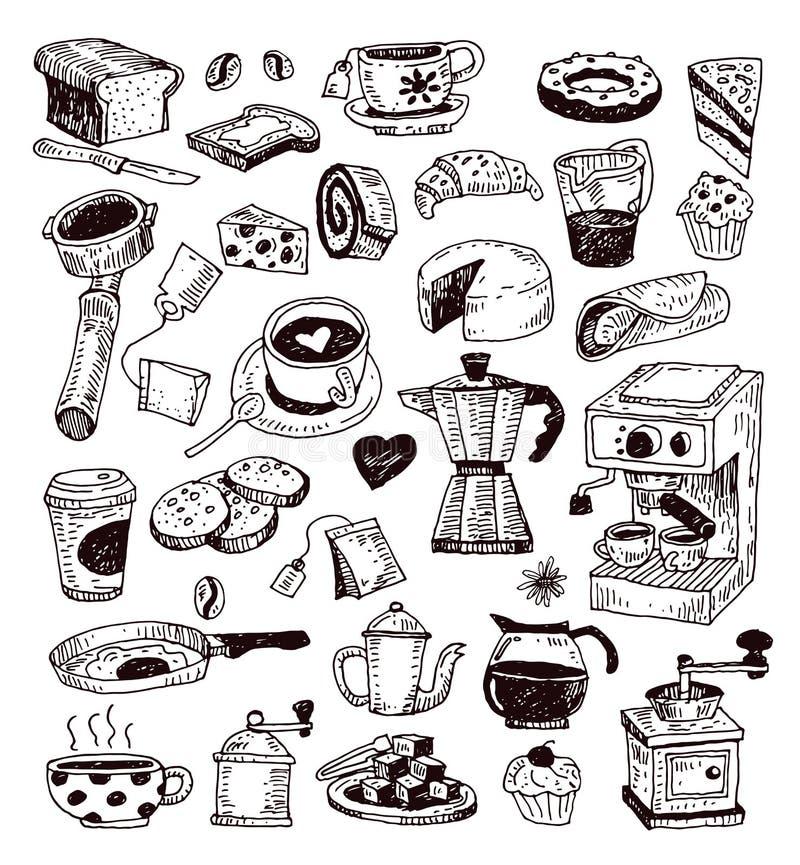 Grupo do ícone do café Ilustração do vetor ilustração royalty free