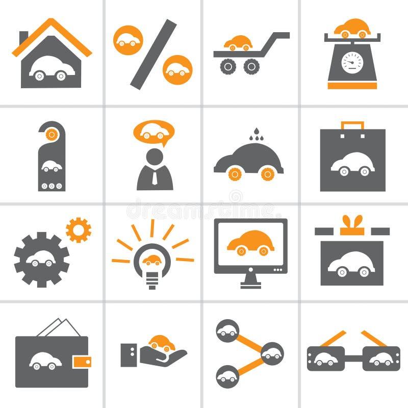 Grupo do ícone do carro da Web ilustração stock