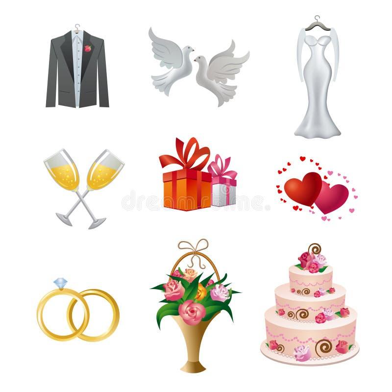 Grupo do ícone do casamento ilustração do vetor
