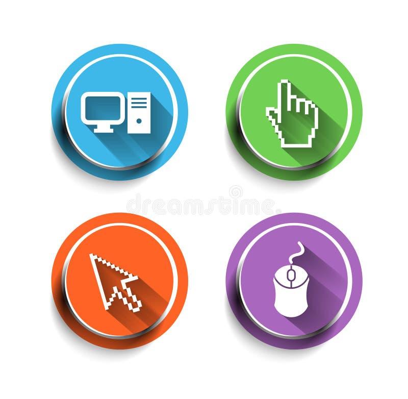 Grupo do ícone do computador eletrônico ilustração stock