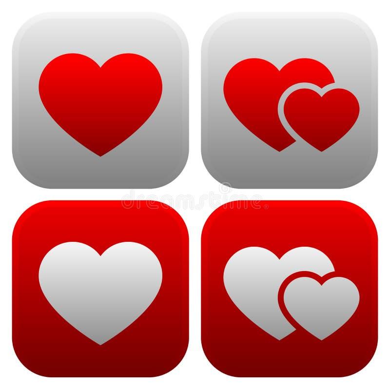 Grupo do ícone do coração Único coração, e pares de corações, ico de dois corações ilustração stock