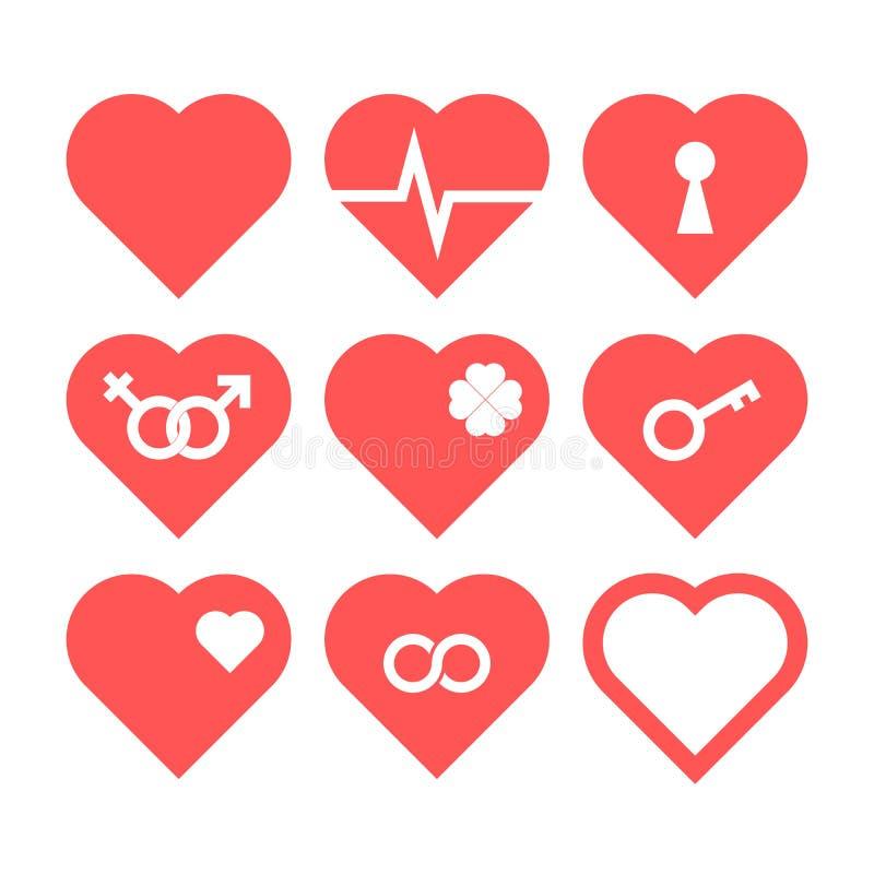 Grupo do ícone do coração ilustração do vetor