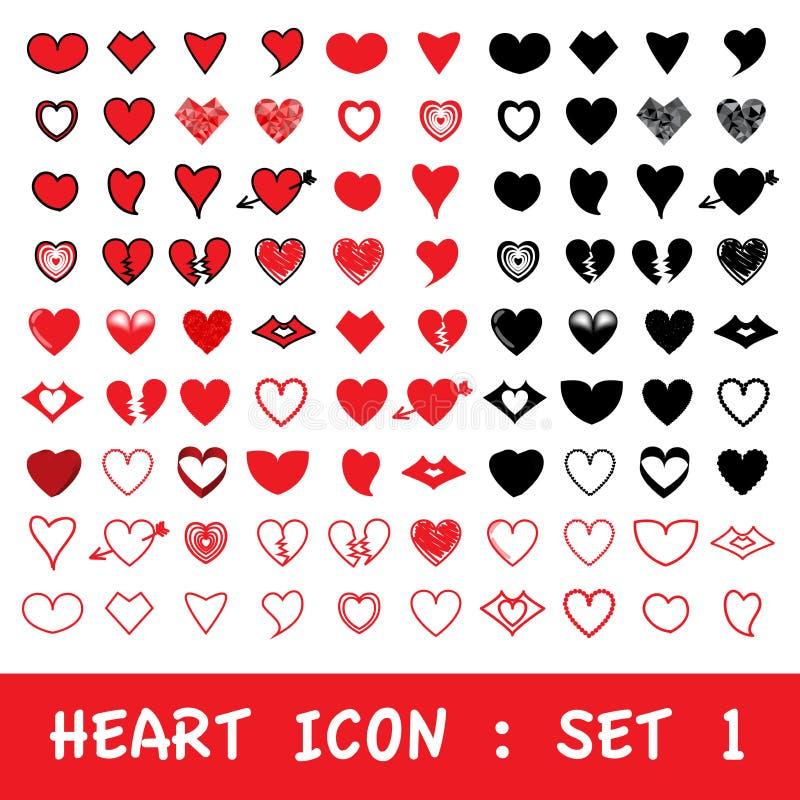 Grupo do ícone do coração do amor Vetor eps10 ilustração stock