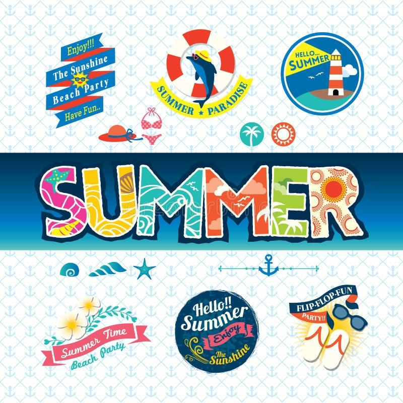 Grupo do ícone do crachá da etiqueta do elemento do projeto do verão ilustração royalty free