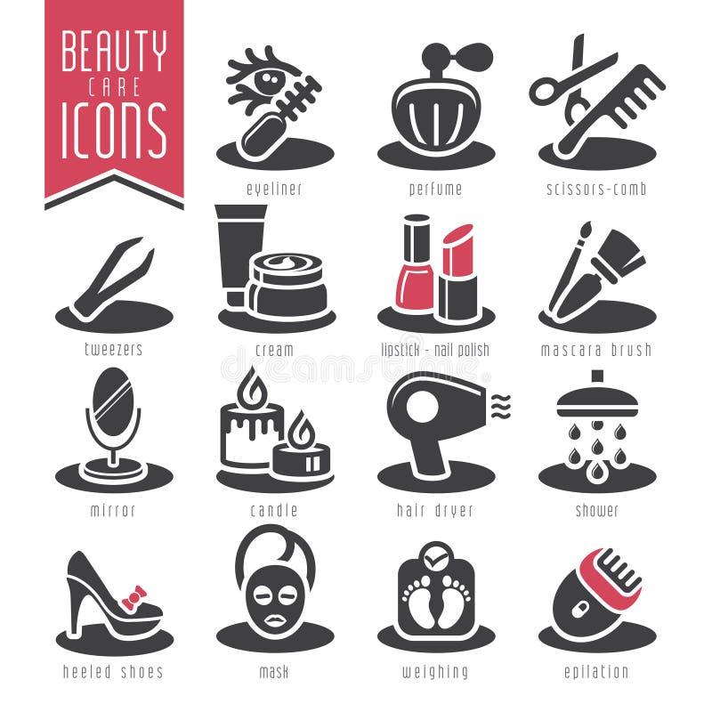 Grupo do ícone do cuidado da beleza ilustração stock