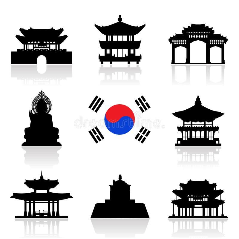 Grupo do ícone do curso de Coreia ilustração stock