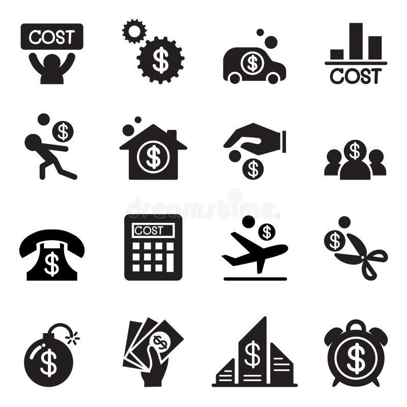 Grupo do ícone do custo do negócio ilustração do vetor
