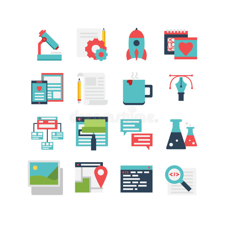 Grupo do ícone do desenvolvimento da Web ilustração stock