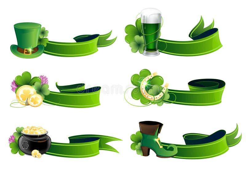 Grupo do ícone do dia do St. Patricks ilustração royalty free