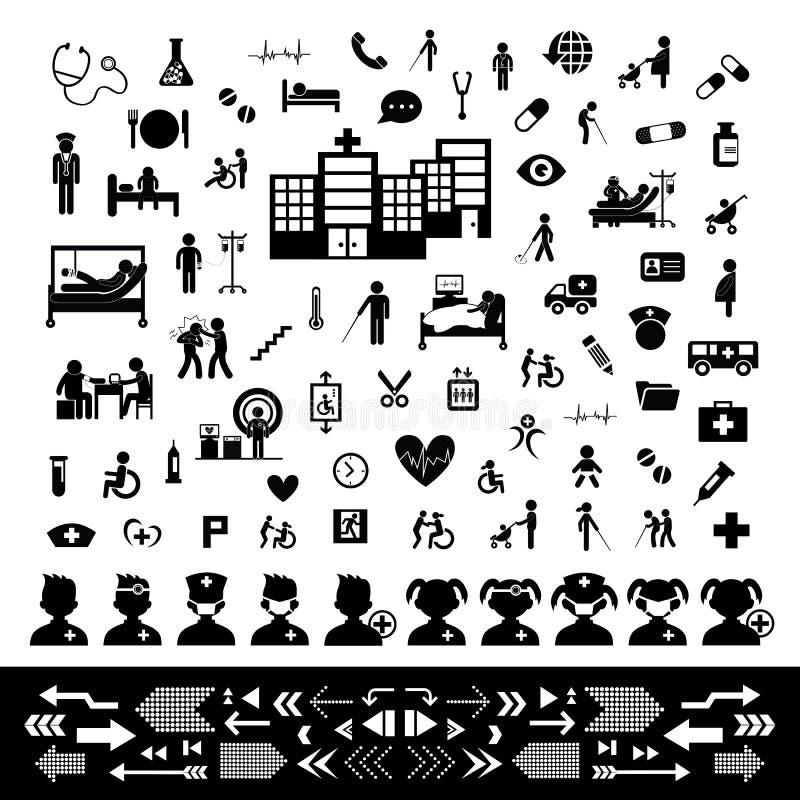 Grupo do ícone do doutor e do hospital fotografia de stock
