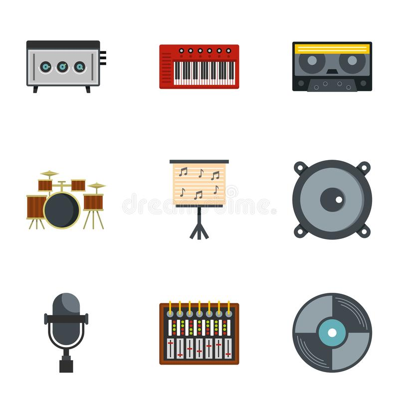 Grupo do ícone do equipamento da música, estilo liso ilustração stock