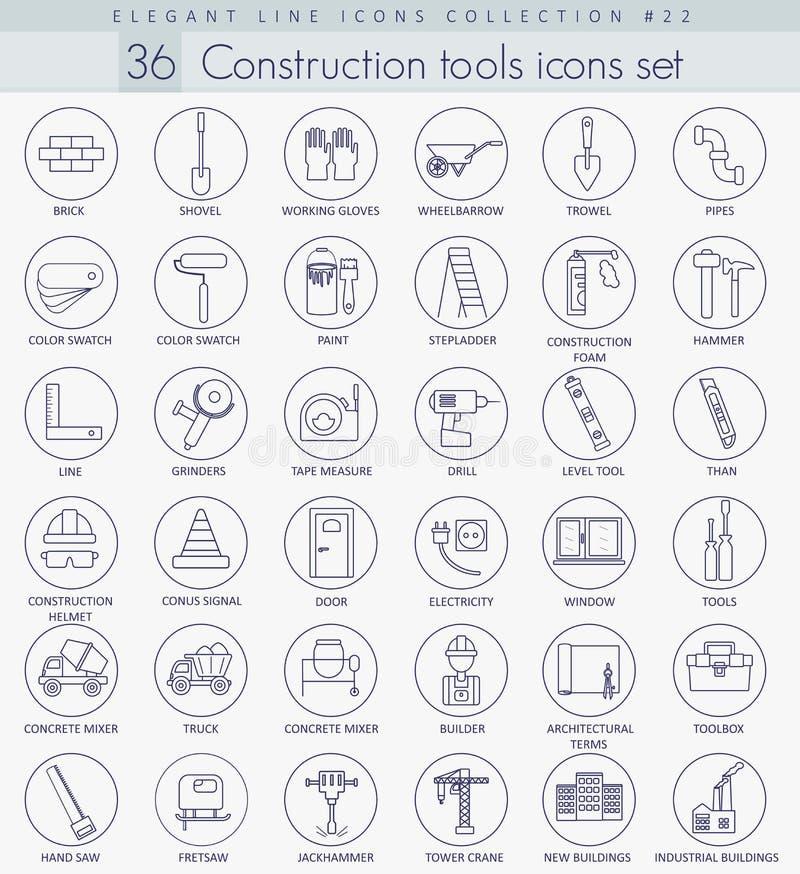 Grupo do ícone do esboço das ferramentas da construção do vetor Linha fina elegante projeto do estilo ilustração do vetor