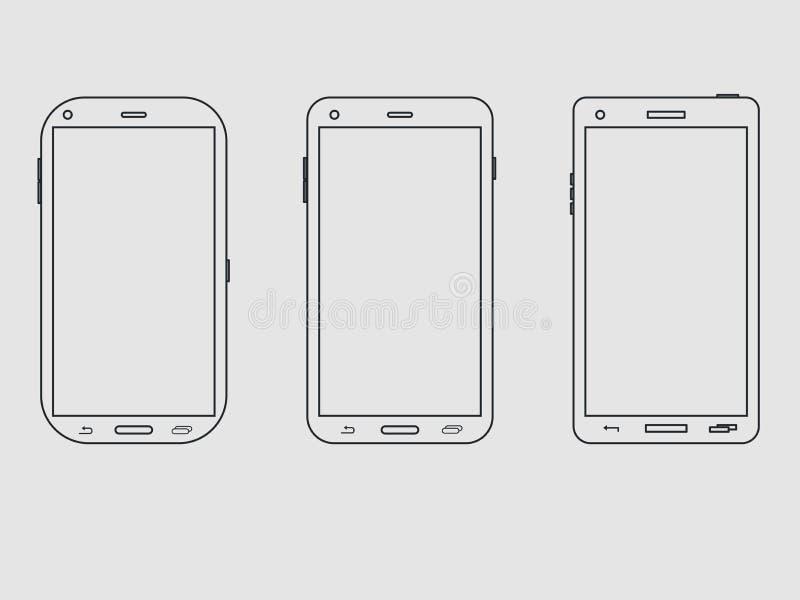 Grupo do ícone do esboço de Smartphone A disposição da linha smartphone Vetor ilustração do vetor