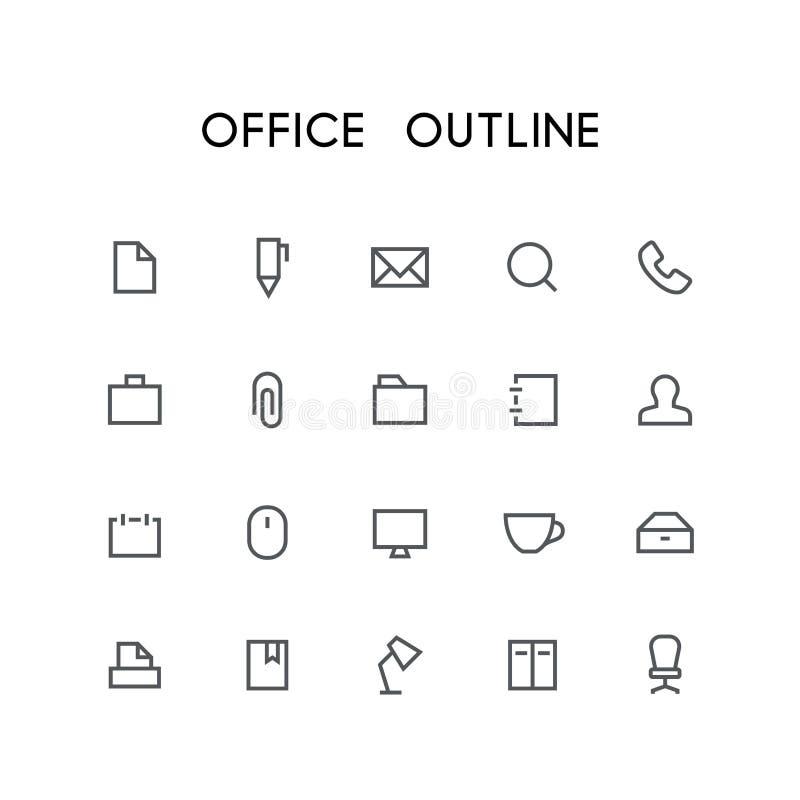 Grupo do ícone do esboço do escritório ilustração royalty free