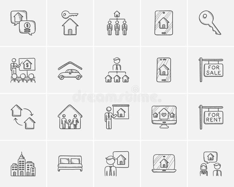 Grupo do ícone do esboço dos bens imobiliários
