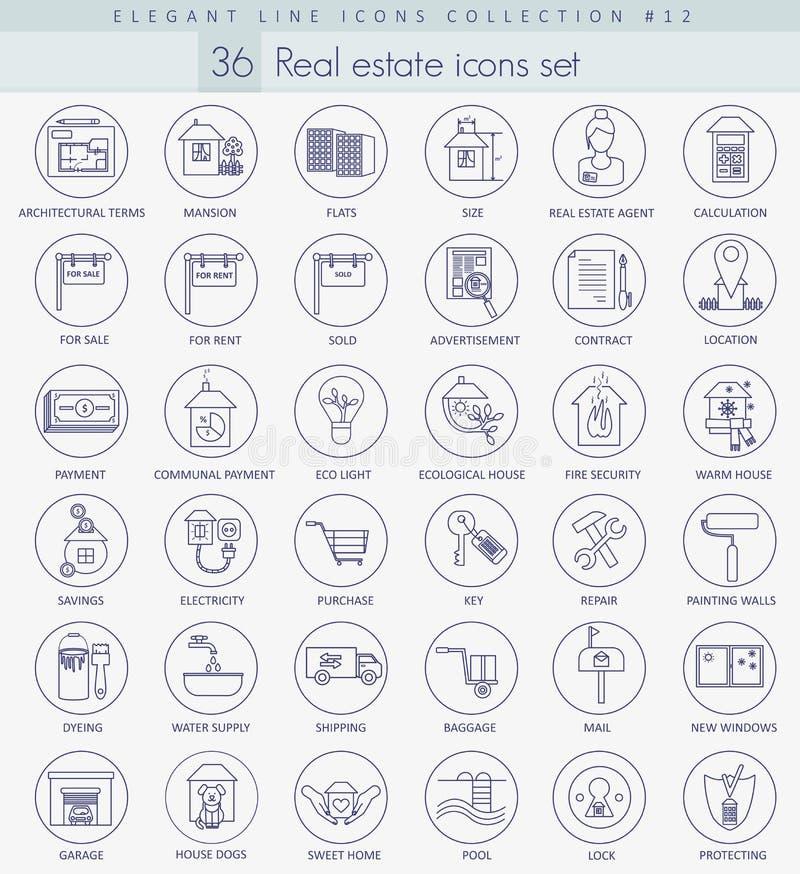 Grupo do ícone do esboço dos bens imobiliários do vetor Linha fina elegante projeto do estilo ilustração do vetor