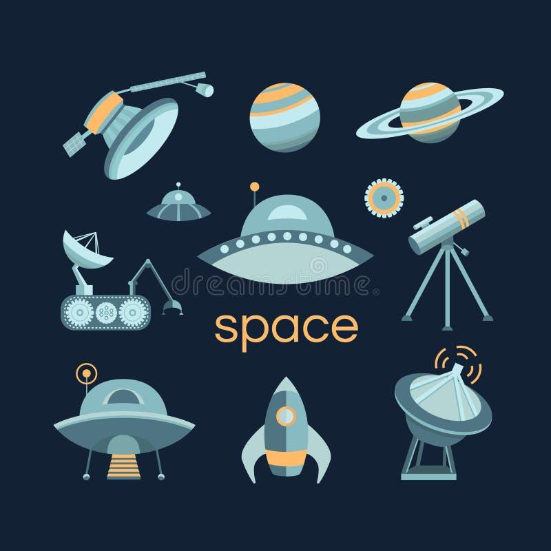 Grupo do ícone do espaço ilustração royalty free