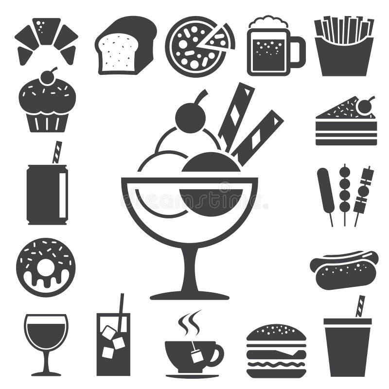 Grupo do ícone do fast food e da sobremesa. ilustração royalty free
