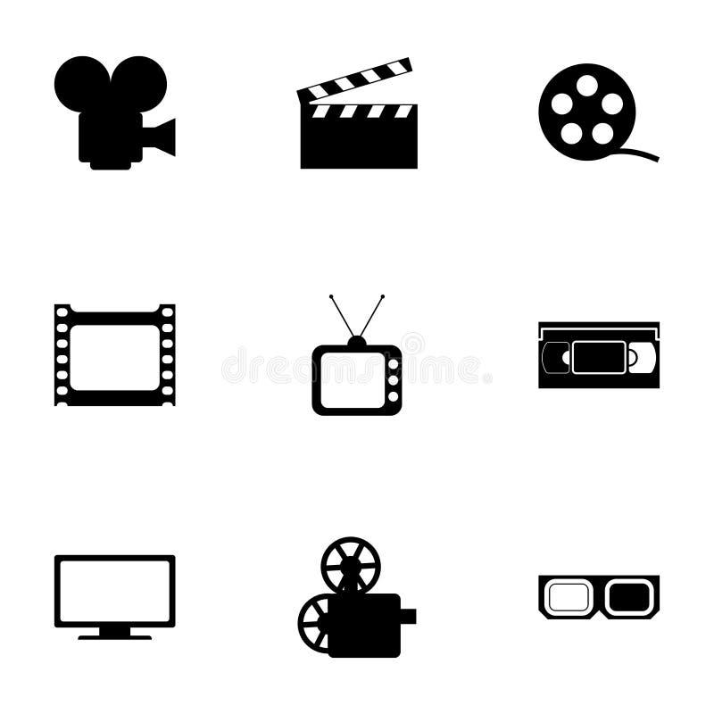 Grupo do ícone do filme do vetor ilustração royalty free