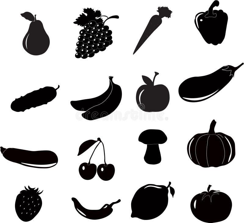 Grupo do ícone do froot dos vegetais, vetor ilustração do vetor