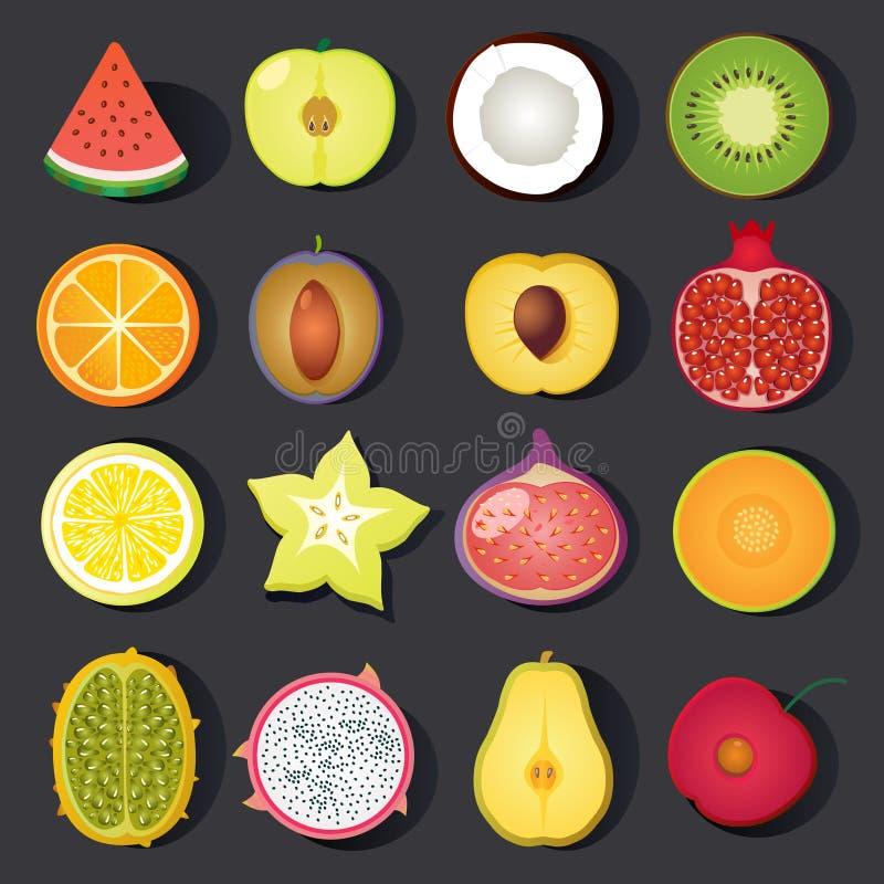 Grupo do ícone do fruto do vetor ilustração royalty free