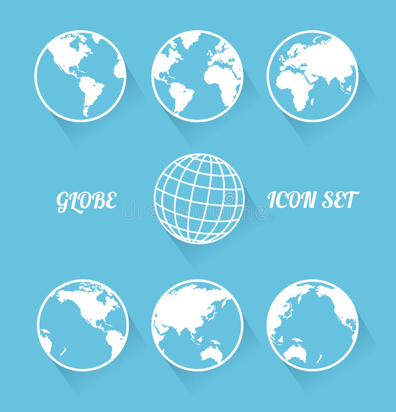 Grupo do ícone do globo de Vecrot. Estilo liso moderno fotografia de stock royalty free