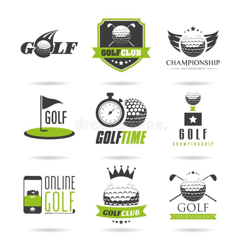Grupo do ícone do golfe ilustração royalty free