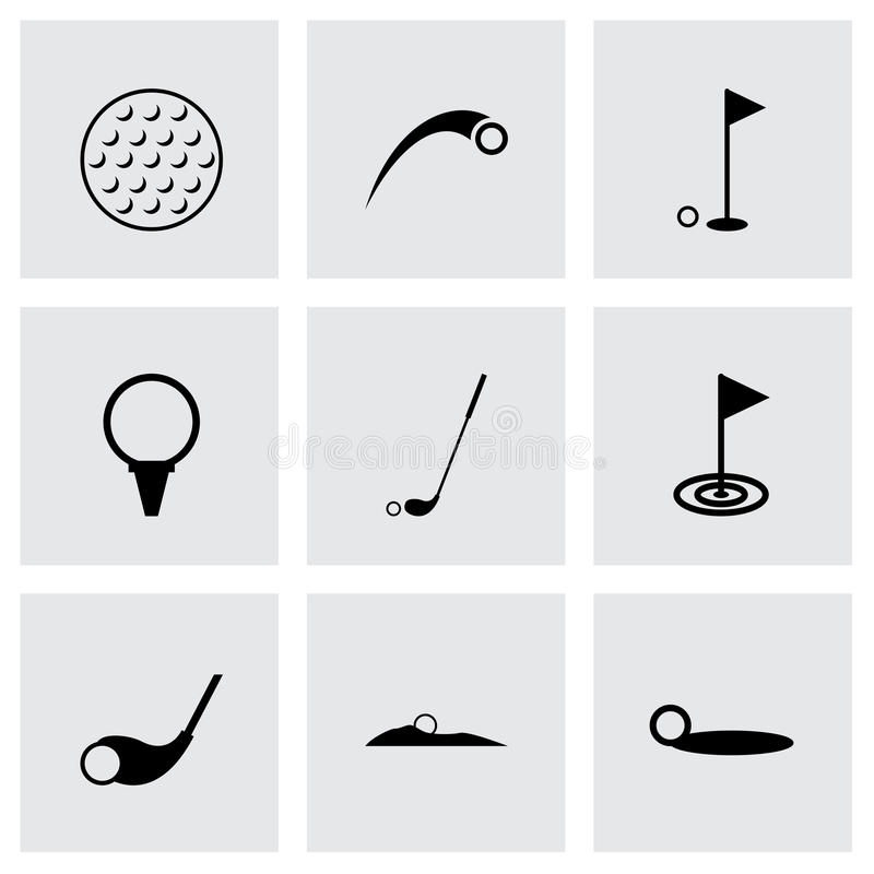 Grupo do ícone do golfe do vetor ilustração do vetor