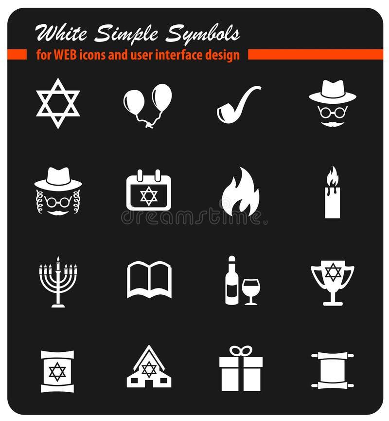 Grupo do ícone do Hanukkah ilustração stock