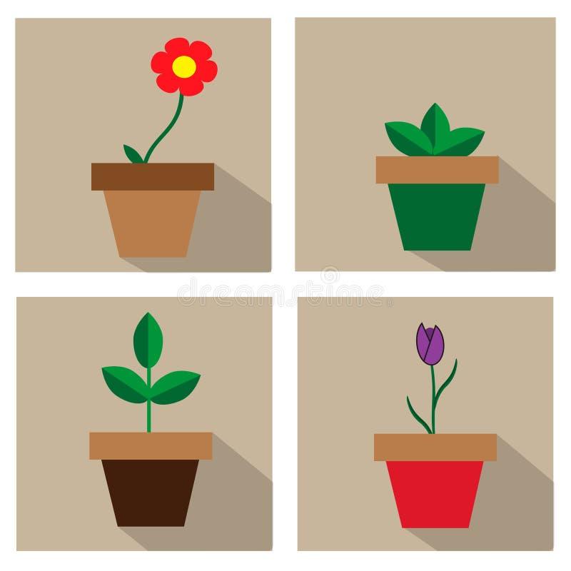 Grupo do ícone do Houseplant Ícone longo liso da sombra Elementos no projeto liso ilustração stock