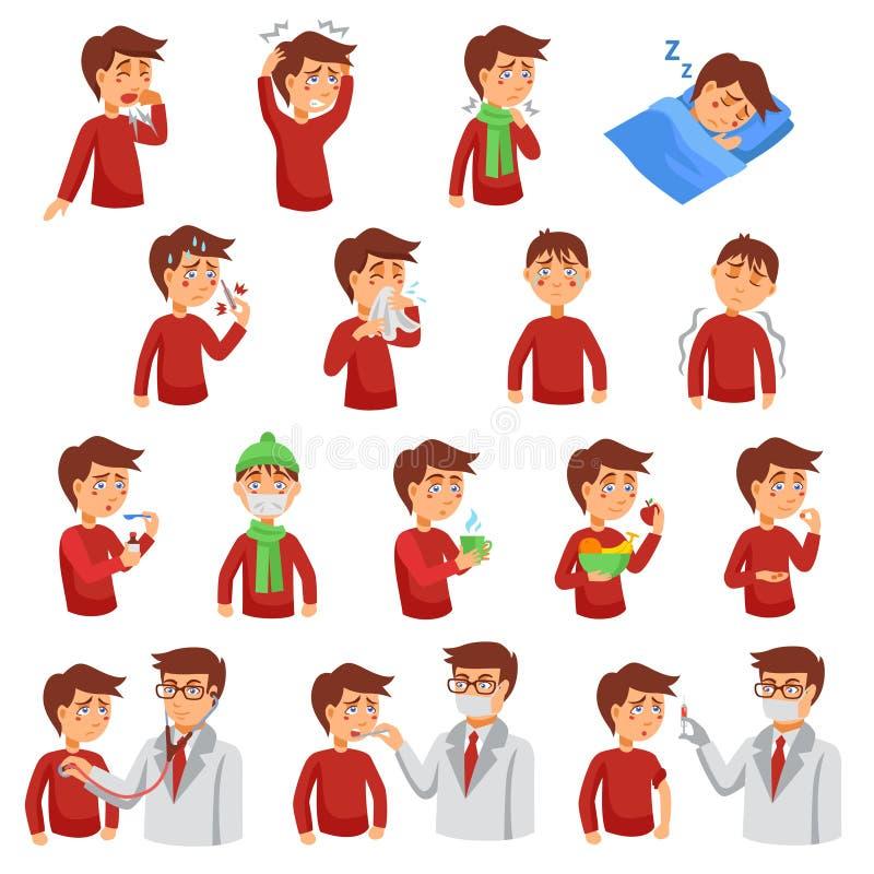 Grupo do ícone do iIlness da gripe ilustração royalty free