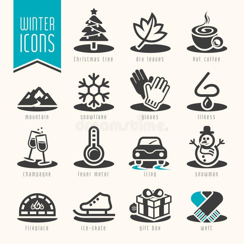 Grupo do ícone do inverno ilustração stock