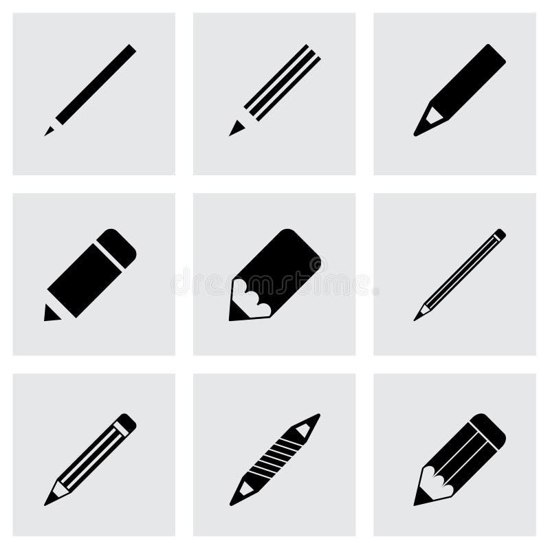 Grupo do ícone do lápis do vetor ilustração royalty free