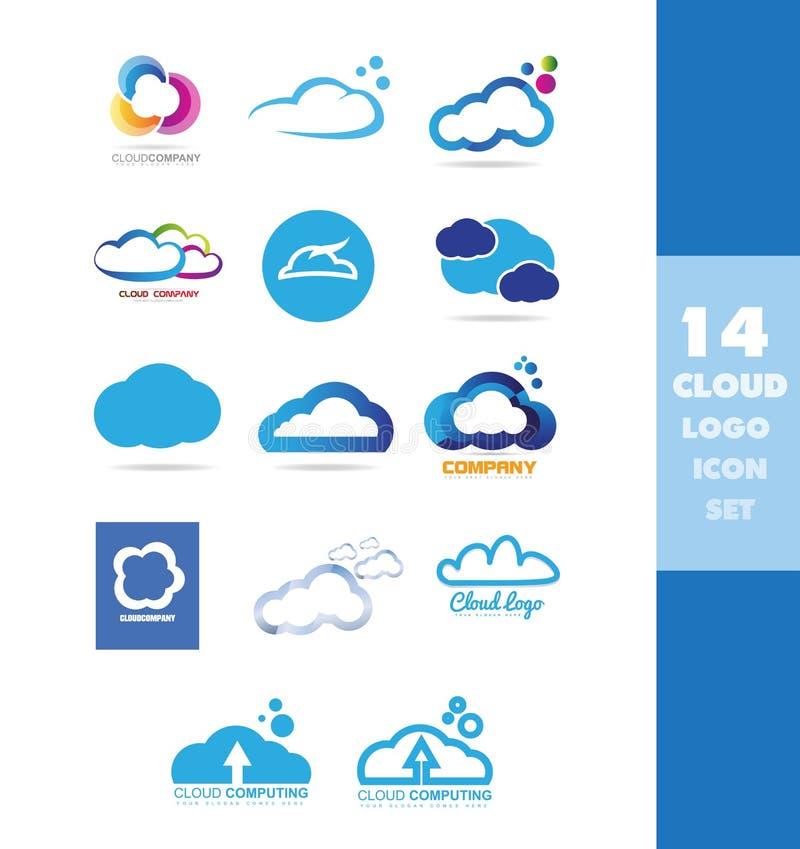 Grupo do ícone do logotipo do armazenamento de dados da nuvem ilustração royalty free