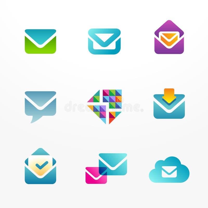 Grupo do ícone do logotipo do email ilustração royalty free