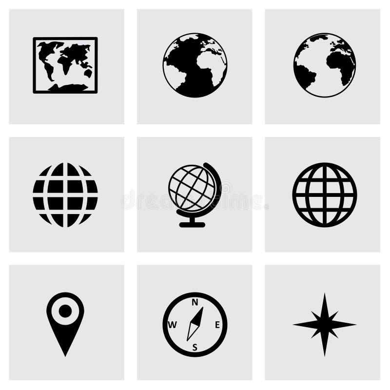 Grupo do ícone do mapa do mundo do vetor ilustração stock