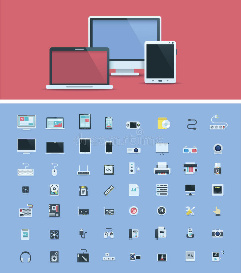 Grupo do ícone do material informático ilustração do vetor
