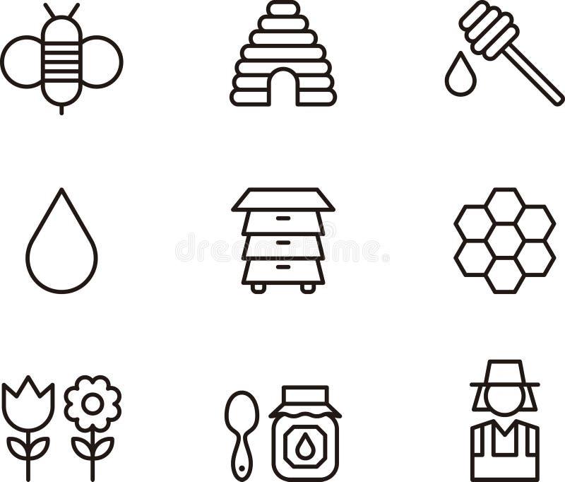 Grupo do ícone do mel e da abelha ilustração royalty free