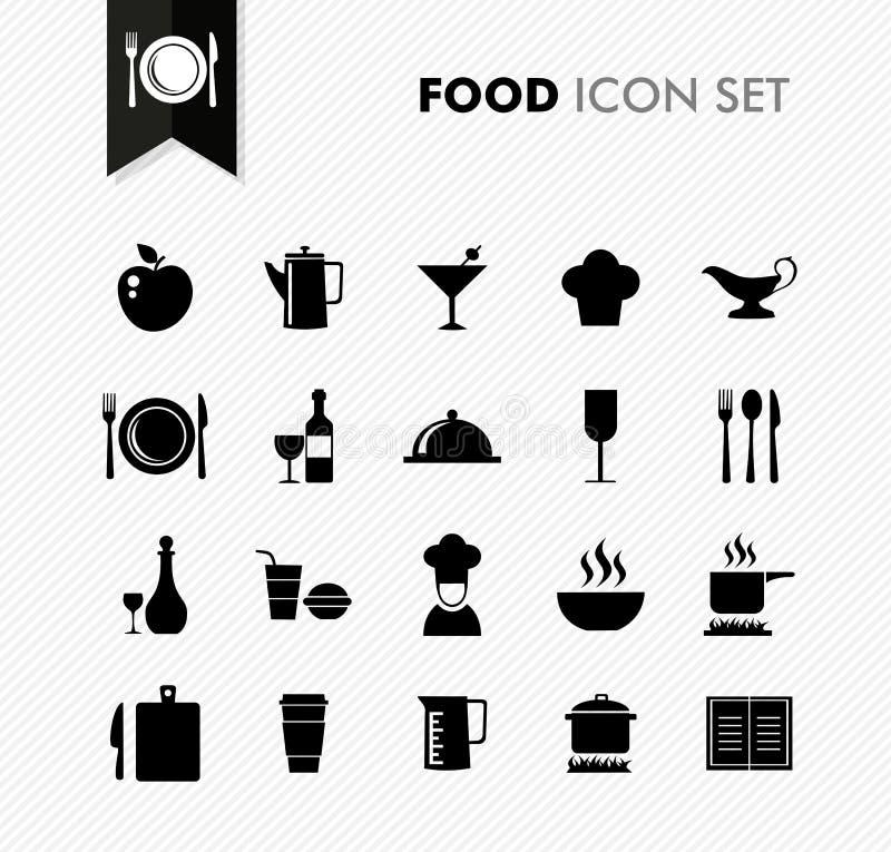 Grupo do ícone do menu do restaurante dos alimentos frescos. ilustração stock