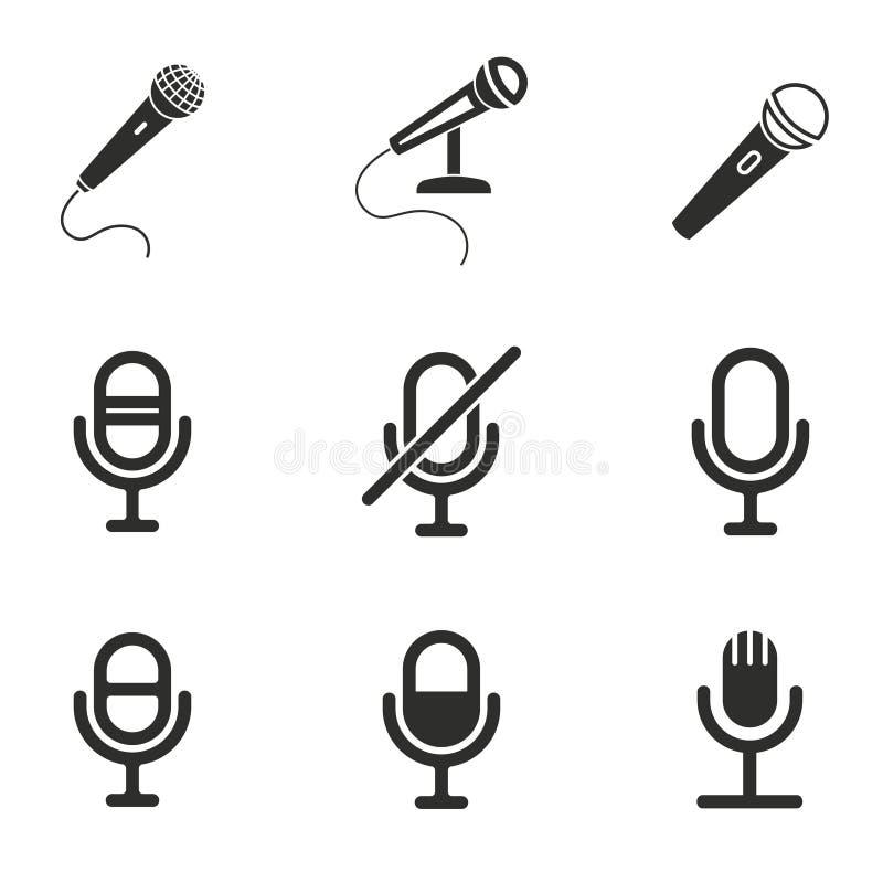 Grupo do ícone do microfone ilustração royalty free