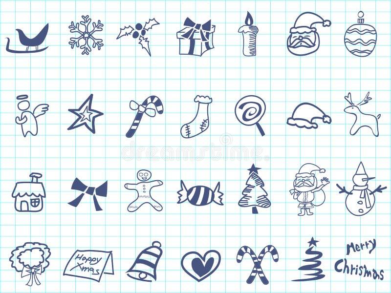 Grupo do ícone do Natal da garatuja ilustração stock