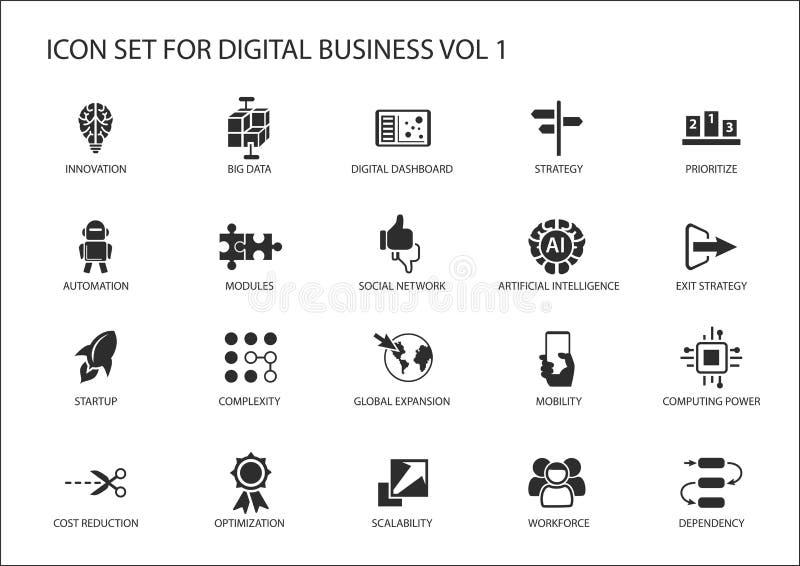 Grupo do ícone do negócio de Digitas ilustração do vetor