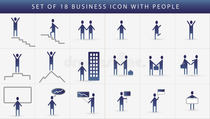 Grupo do ícone do negócio de uma comunicação humana. ilustração stock