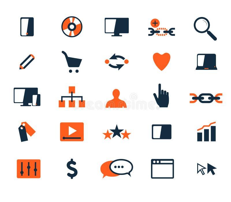 Grupo do ícone do negócio Desenvolvimento do software e da Web, mercado ilustração stock