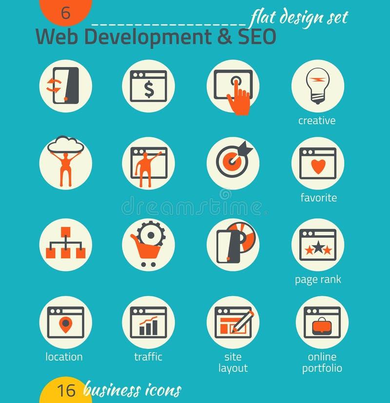 Grupo do ícone do negócio Desenvolvimento do software e da Web, SEO, mercado ilustração stock